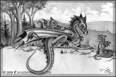 Mother Dragon with Baby Dragons